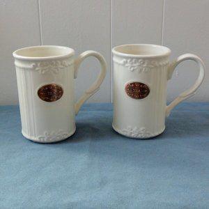 THL Farmhouse French Chic White Tea Mugs, Set of 2